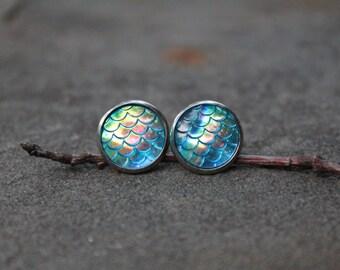 Blue Mermaid Scale Earrings