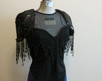 Bodysuit black 1980s rockstar SEQUINS FRINGE EDM club wear rave sheer shoulder pads M