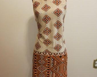 Dress MOD orange graphic southwest print stretch mini twiggy M L