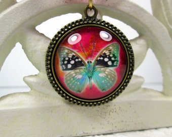 Watercolor Butterfly Gold Round Art Glass Pendant Necklace, Handmade OOAK