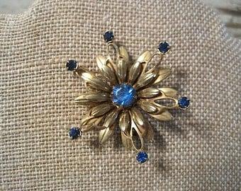 Vintage Blue Rhinestone and Goldtone Brooch