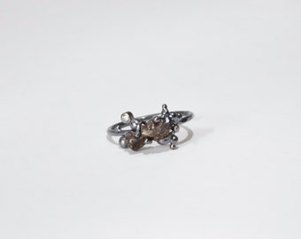 Wanderers Ring - meteorite & grey diamond in black silver - size 8