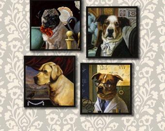 Dog Portrait Coasters, Dog Coaster Set, Anthropomorphic Dog, Dog Lover Gift, Dog Owner Gift, Housewarming Gift, Hostess Gift, Pug, Labrador