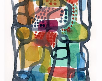 abstract art colorful painting, Abstract watercolor painting, watercolor print, garden plan