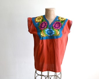 Rust Embroidered Mexican Top