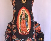 Women's Apron, Double Ruffled, Mother of Mexico, Virgen de Guadalupe Apron, Rose Pin Included