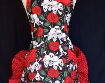 Retro Woman's Apron Red Rose Skull and Bones Ruffled Shorty Style
