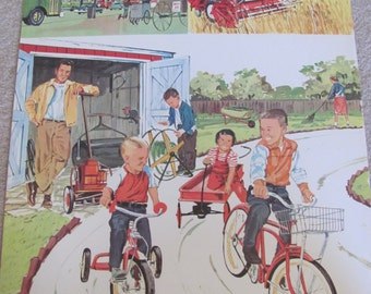 "Large Vintage Illustrated Classroom School Poster 2 Sided -- 20"" x 25"" Children - Many to choose from!"