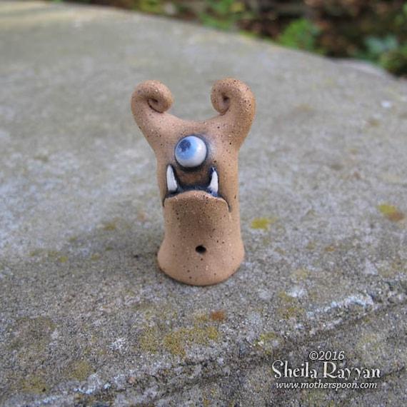 Monster - hand sculpted stoneware ceramic buddy desk pet