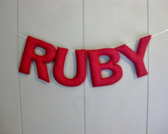 Personalized Children's Decor / Nursery Wall Hanging / Felt Name Banner / Custom Bunting / Hanging Letters Garland / Baby Shower - One Color