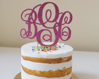 """Glitter """"Monogram"""" Cake Topper"""