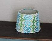 Green and Blue Ikat Small Drum Lamp Shade