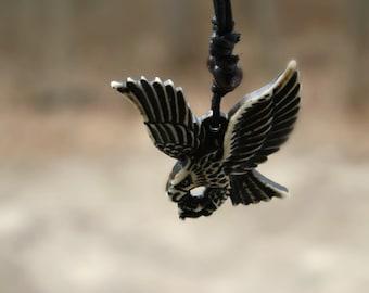 Unisex Bone Black and White Eagle Necklace, Large Bone Necklace,Tribal  Jewelry, Boho Jewelry, Trendy Eagle Pendant, Hipster Jewelry