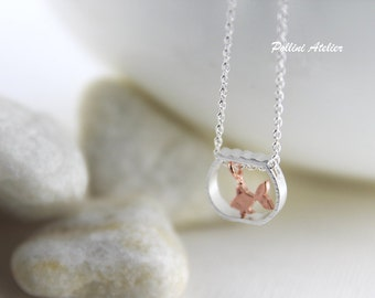 Goldfish in Bowl Necklace in Silver/ Gold. Cute Necklace. Fish Necklace. Layering Necklace.  Sweet 16. Gift For Her (PNL-180)