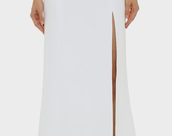 Floor length white maxi skirt, small train at back high quality tailor made, High fashion ,Custom Order /plus sizes/ many colors