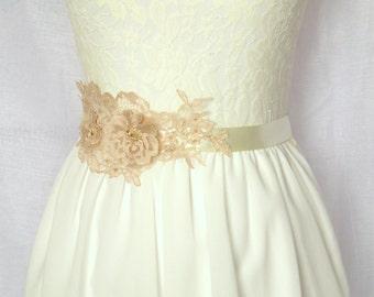 Lace Bridal Sash, Swarovski Crystal Bridal Belt, Pink Ivory Bridal Sash, Satin Sash / Vintage, Boho / Mae