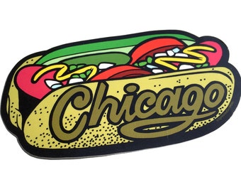 Chicago Hot Dog Sticker, Bumper Decal Gift, Souvenir Laptop Sticker, City Food Hotdog, Midwest Illinois Illustration, Sprouted Scribbles Art