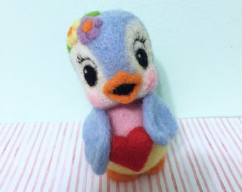 Felted Bluebird Holding Heart / Soft Sculpture / Ornament / Decoration / Valentine's Day