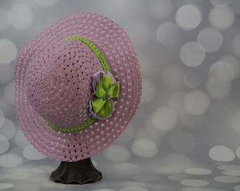 Tea Party Hat; Lavender Easter Bonnet with Ribbon; Girls Sun Hat; Lavender Easter Hat; Sunday Dress Hat; Derby Hat; 16281