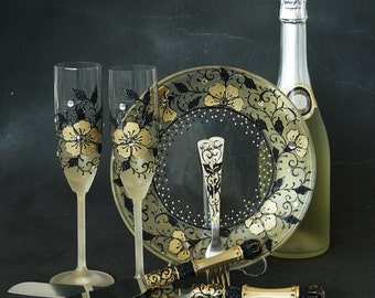 Gold and Black Wedding Set, Gatsby Wedding Set, Champagne Glasses, Cake Server Set, Forks and Plate, Hand Painted