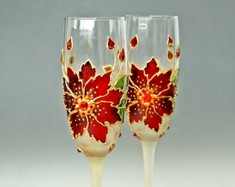 Christmas Glasses, Winter Wedding, Champagne Glasses, Toasting Wedding Glasses, Poinsettia Glasses, Hand Painted Set of 2