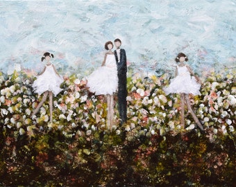 Large Figurative Painting  family painting Father mother daughter Our Garden  30x40  Swalla Studio