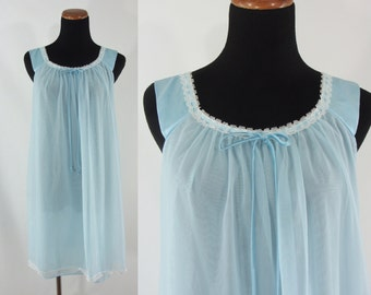 SALE Vintage Babydoll Nightgown - 1960s Powder Blue Baby Doll - 60s Pin-up Lingerie - Sixties Light Blue Teddy