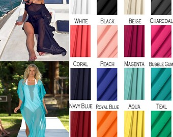 Long Draped Sheer Coverup with Short Sleeves and Optional Belt, Additional Colors Available