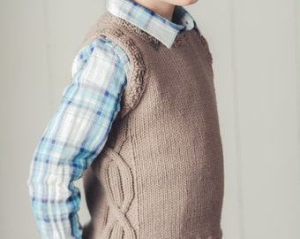 PDF KNITTING PATTERN for boys and girls worsted weight cabled vest