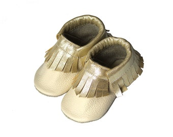 Leather baby moccasin toddler moccs soft-soled shoe handmade baby moccs Gold Beige