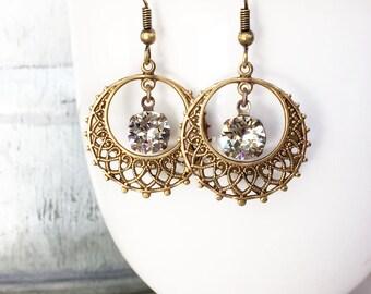 Boho Hoops - Ethnic Earrings - Gypsy Earrings - Gold Hoops - Everyday Earrings - Coachella Jewelry - Festival Fashion - Glittering Earrings