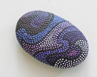 Purple Swirl Handpainted Ocean Rock
