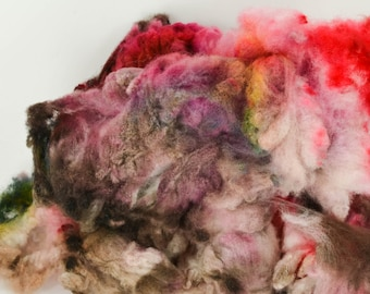 Spinning Fiber Cormo COATED Wool Locks Spinning and Felting Wool Hand Dyed- Cherry Cordial