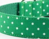 Kelly Green Dot Dog Collar