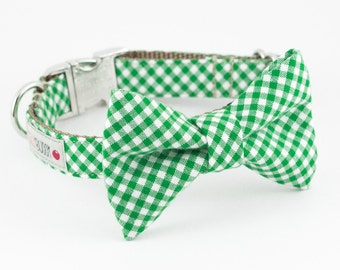 Kelly Green Gingham Bowtie Dog Collar