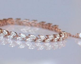 Rose Gold Crystal Bracelet, Crystal Bridal Bracelet, Pink Gold Tennis Bracelet, Crystal Bridal Jewelry, Wedding Jewelry, HAYLEY Crystal