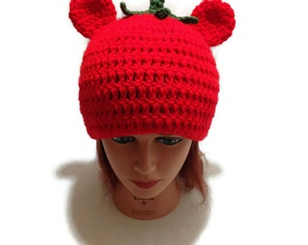 Tomato Bear Hat, Food Hat, Tomato Hat, Bear Hat, Bear Cosplay Hat, Tomato Beanie, Novelty Hat, Kawaii Bear, Hat with Ears, Red Tomato Hat