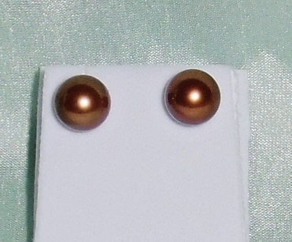 Genuine 11mm Chocolate Tahitian Cultured Pearl, SOLID 14kt yellow gold STUD Pierced Earrings