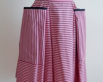 1950s Pink black stripe pleated skirt / 50s cotton hip pocket skirt - XS S