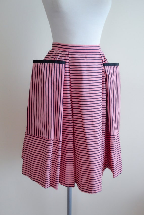 1950s pink black stripe pleated skirt 50s cotton hip pocket