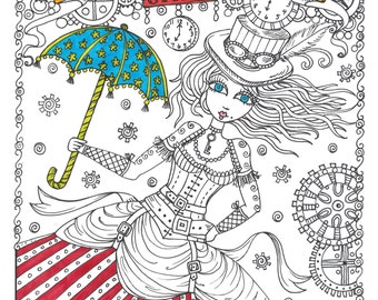 SteamPunk Girls Coloring Book for All Ages Fun, Quirky, Cute