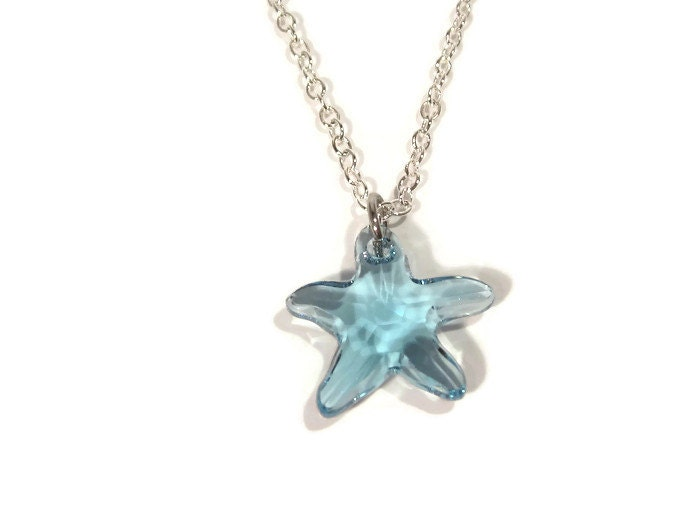 aquamarine swarovski starfish pendant with silver chain