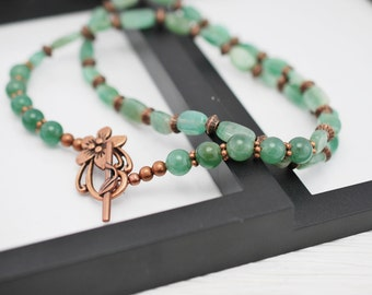 Green and Copper Necklace, Green Necklace, Copper Necklace, Moss Agate Necklace, Boho Necklace, Beaded Necklace, Stone Necklace