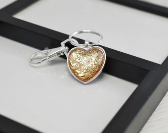 Gold Heart Keychain, Heart Keychain, Gold Keychain, Silver and Gold, Nail Polish Keychain, Gold Purse Charm, Free Shipping, Gift For Her