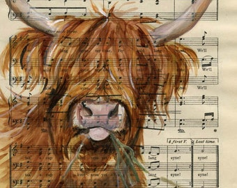 "Highland Cow, Cattle - Original watercolor,  on antique book page - The Scottish Student Song Book 10"" x 7"""