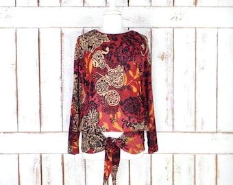 Vintage sheer rust brown/black/tan tribal floral print pullover blouse/long sleeve tunic shirt/Carol Little/4