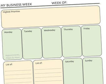 My Business Week Printable Weekly Planner Form - Appointments, Categorized To Do Lists, Goals, Daily Reminders - Updated with New Look!