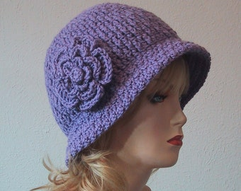 Ladies Cloche Hat w/Flower in Lavender - Soft Acrylic Yarn - Hand Crocheted - Handmade - Size Medium - Ready to Ship - Great Chemo Hat