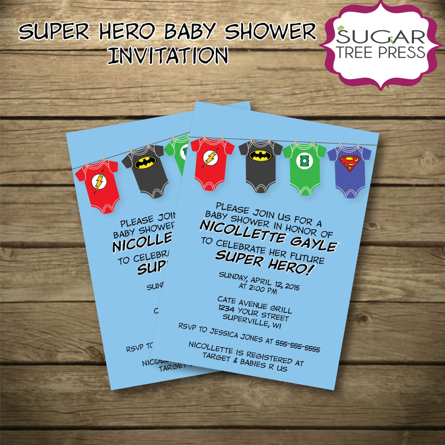 Justice League Invitations Free: Super Hero Justice League Baby Shower Invitation-Printable