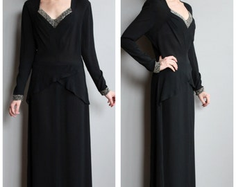 1940s Gown // Back to Black Gown // vintage 40s rayon gown